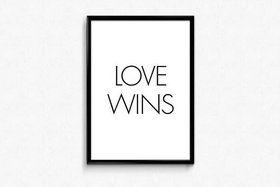 Love Wins Quotes Awesome Home Decor Family Print Living Room Modern Decor Love Wins