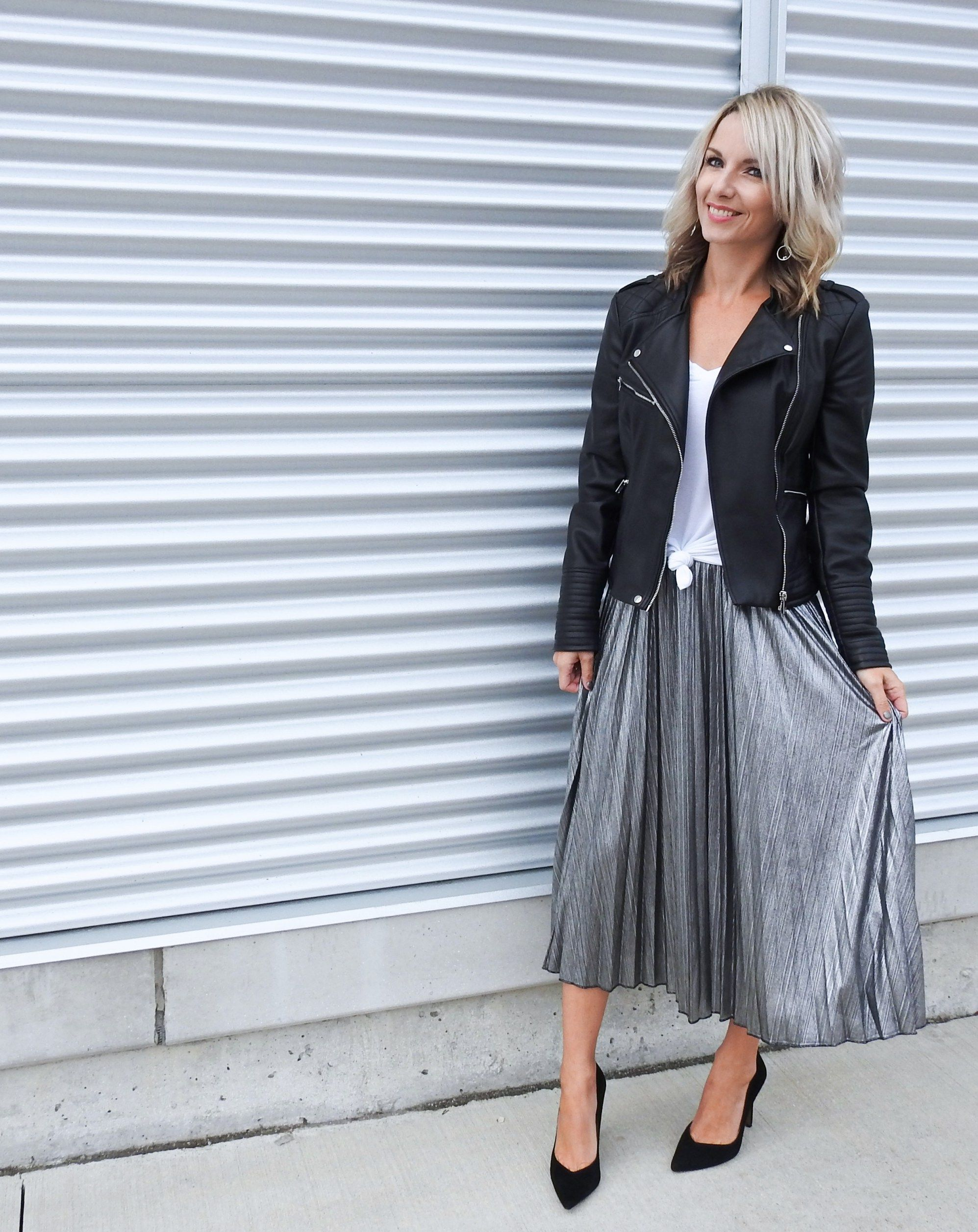 356e807449 Black leather jacket moto, silver pleated midi skirt, black suede pumps,  Adidas superstars, white tee, tiaras and heels blog