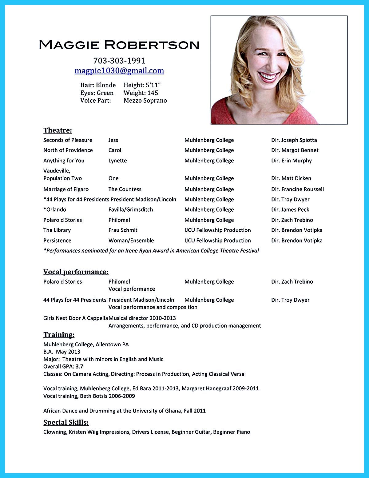 Acting Resume Sample Acting Resume Sample Presents Your Skills And Strengths In Details