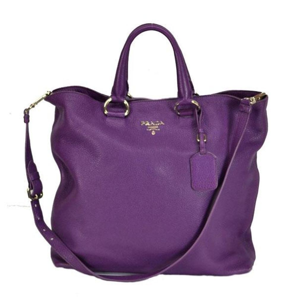 Auth PRADA Handbag Shoulder bag 2WAY Leather Purple  PRADA ... ba17327838