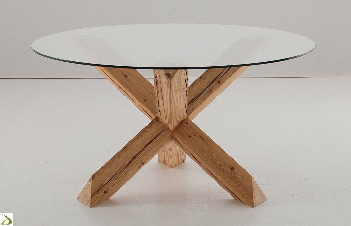 Tavolo di design rotondo con basamento in legno | Home ...