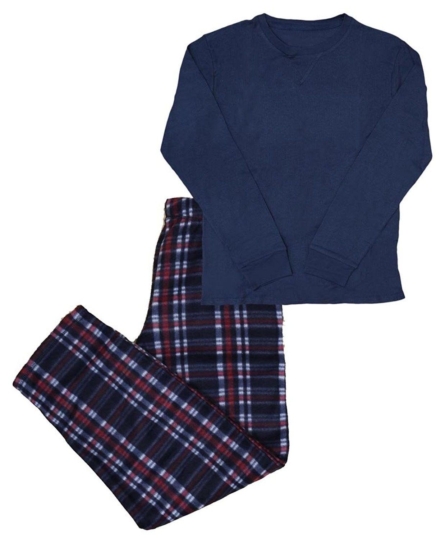 Men s 2-Piece Thermal Plaid Long Sleeve Top   Bottom Pajama Set ... abbacd1dd