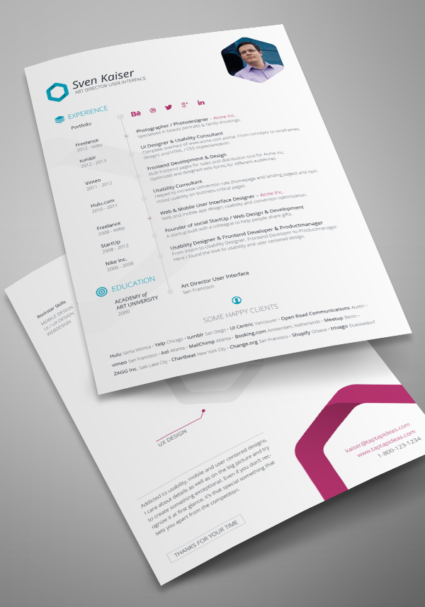 Vita Resume And Cv Indesign Template Bewerbung