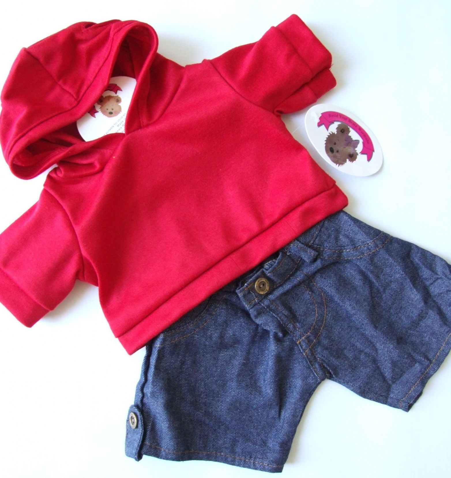 Personlized Red Hoodie Tee 16 Teddy Bear Outfit Teddy Bear Clothes ...