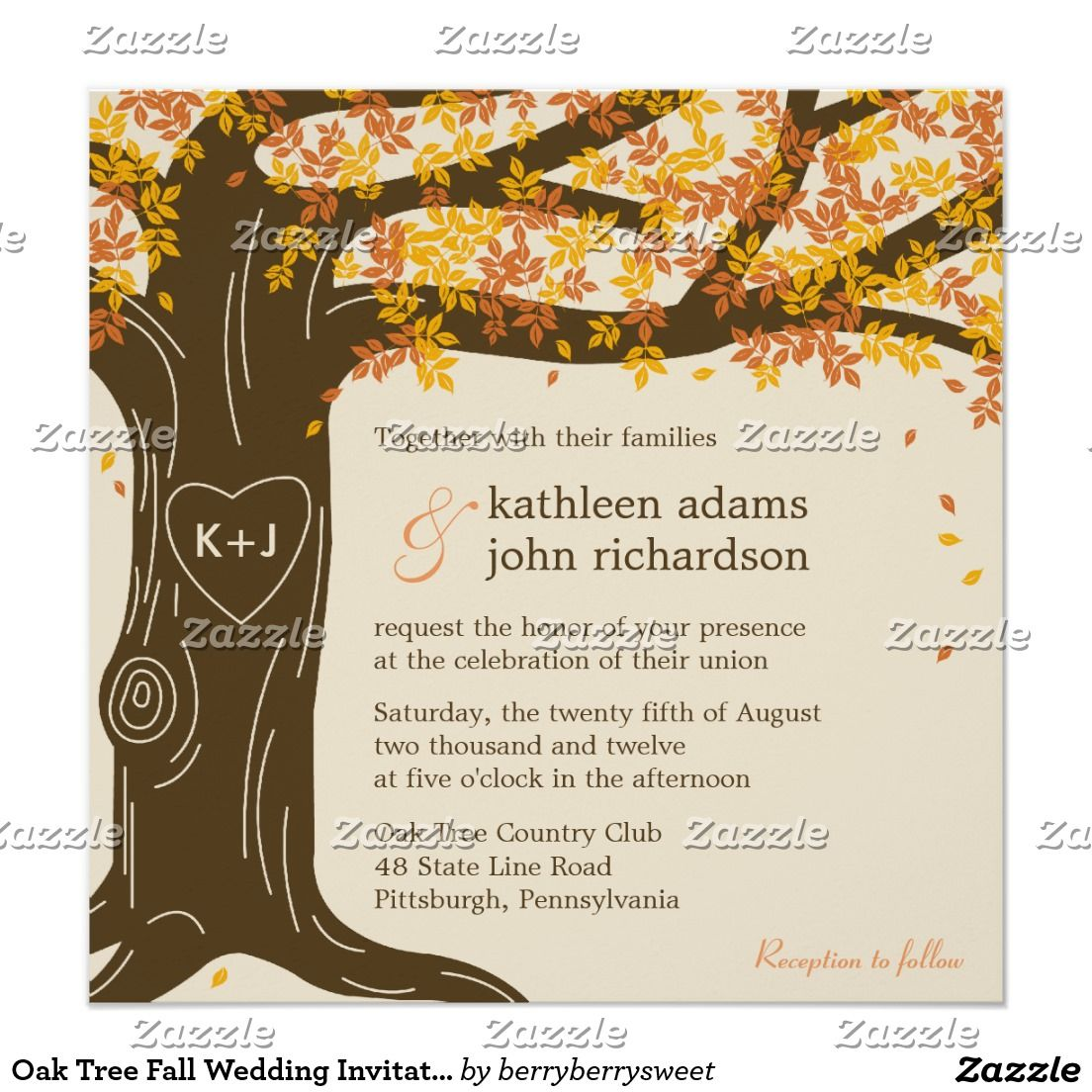 Oak Tree Fall Wedding Invitation: Simple Fall Wedding Invitations At Reisefeber.org