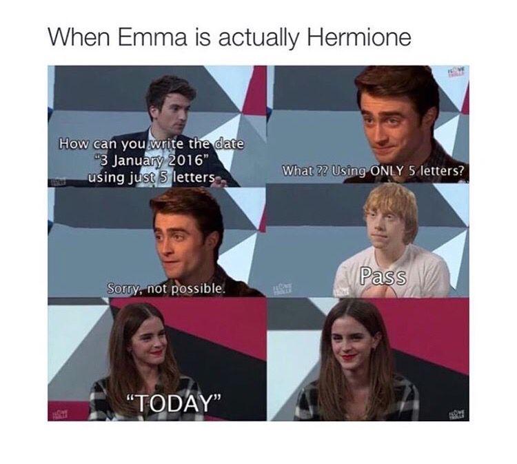 Hermione Harry Potter Cast Harry Potter Memes Hilarious Harry Potter Funny