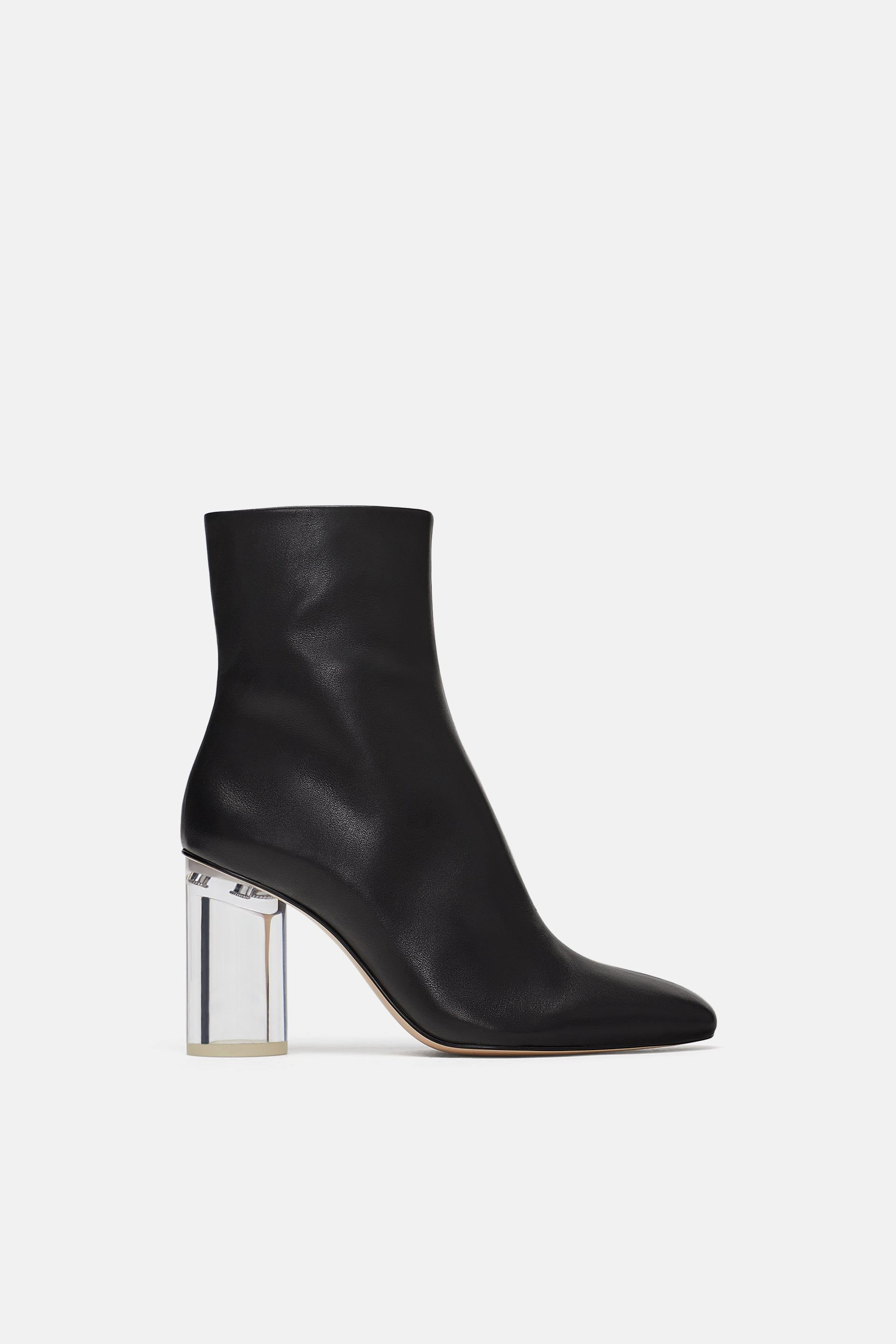 c1b2e13abcb76f Image 2 of LEATHER ANKLE BOOTS WITH TRANSPARENT HEEL from Zara ...