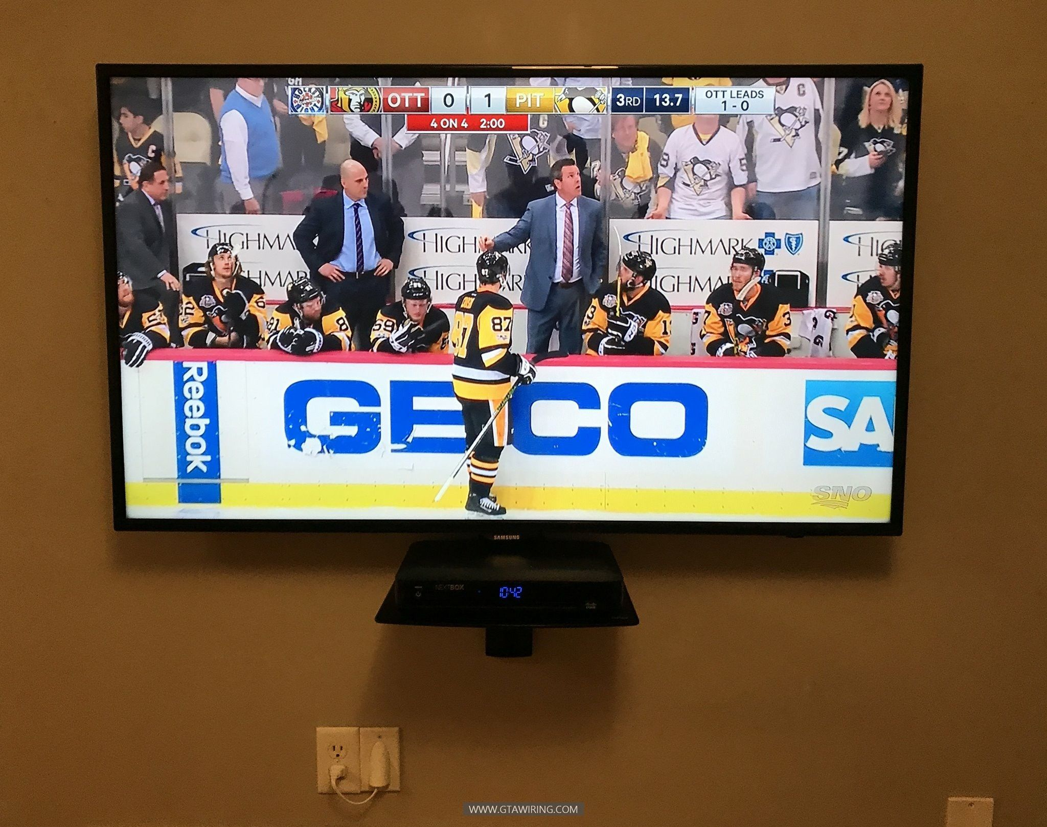 Tv Wall Mounting With Media Shelf Installation All Wires Are  # Table Tv Plasma En Bois Angle