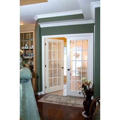 High Quality Milette   Interior French Door Primed With 15 Lites Clear Glass   32 Inches  X 80