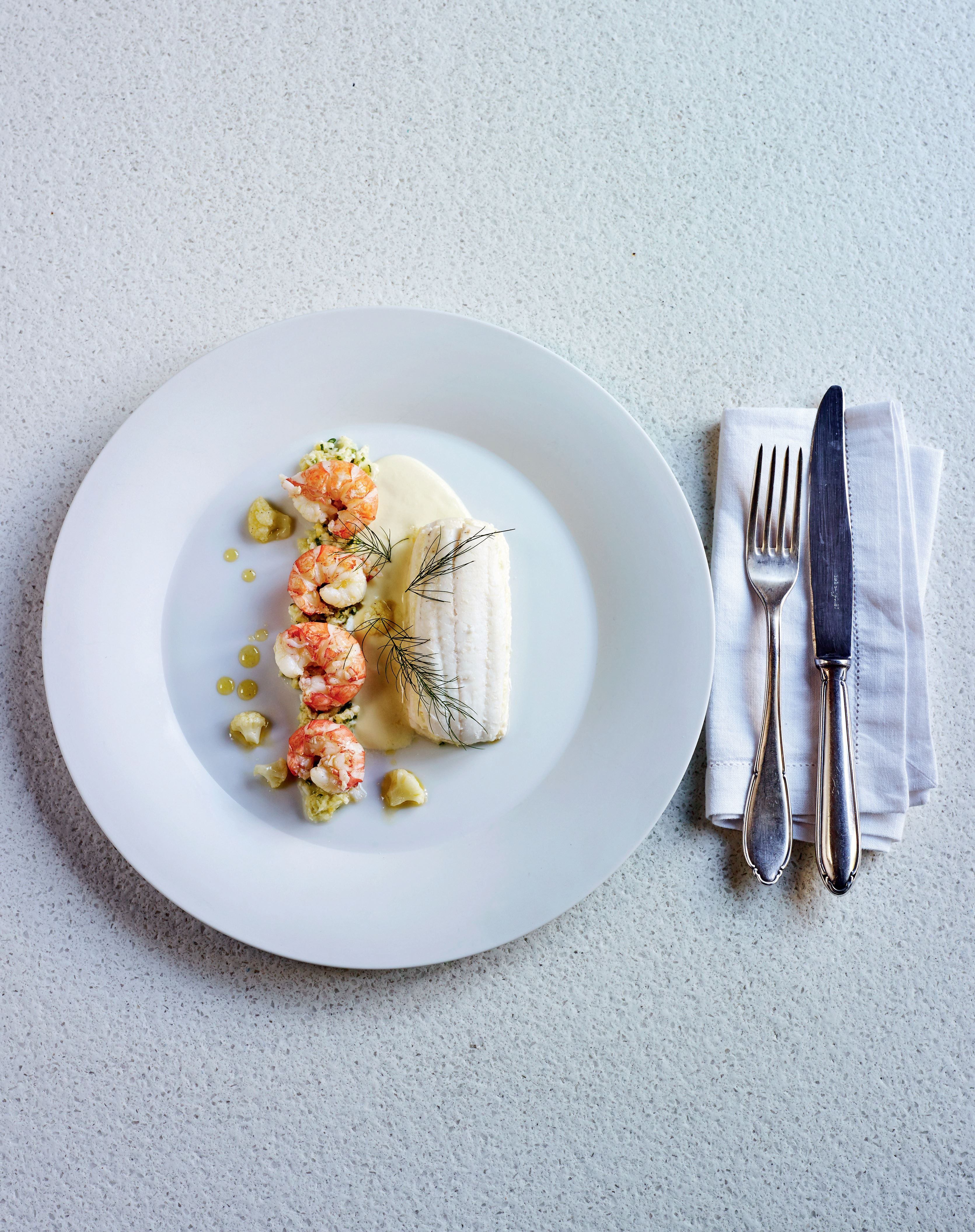 Layered sole with langoustines and cauliflower recipe from more home