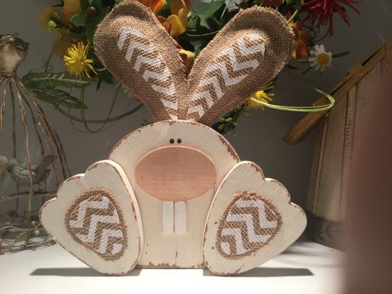 Wood Easter Bunny Wood Bunny Cute Easter Decor Wooden Easter Decorations Easter Crafts Easter Wood Crafts