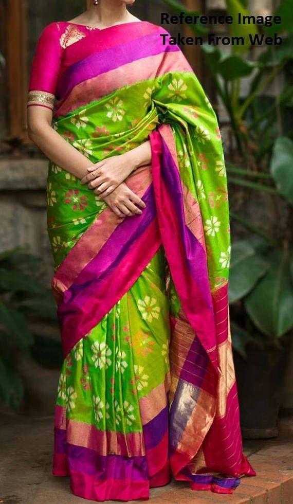 1dab1760c6 Pochampally Parrot Green Ikkath Silk Saree with Purple Rani Pink Zari  Borders