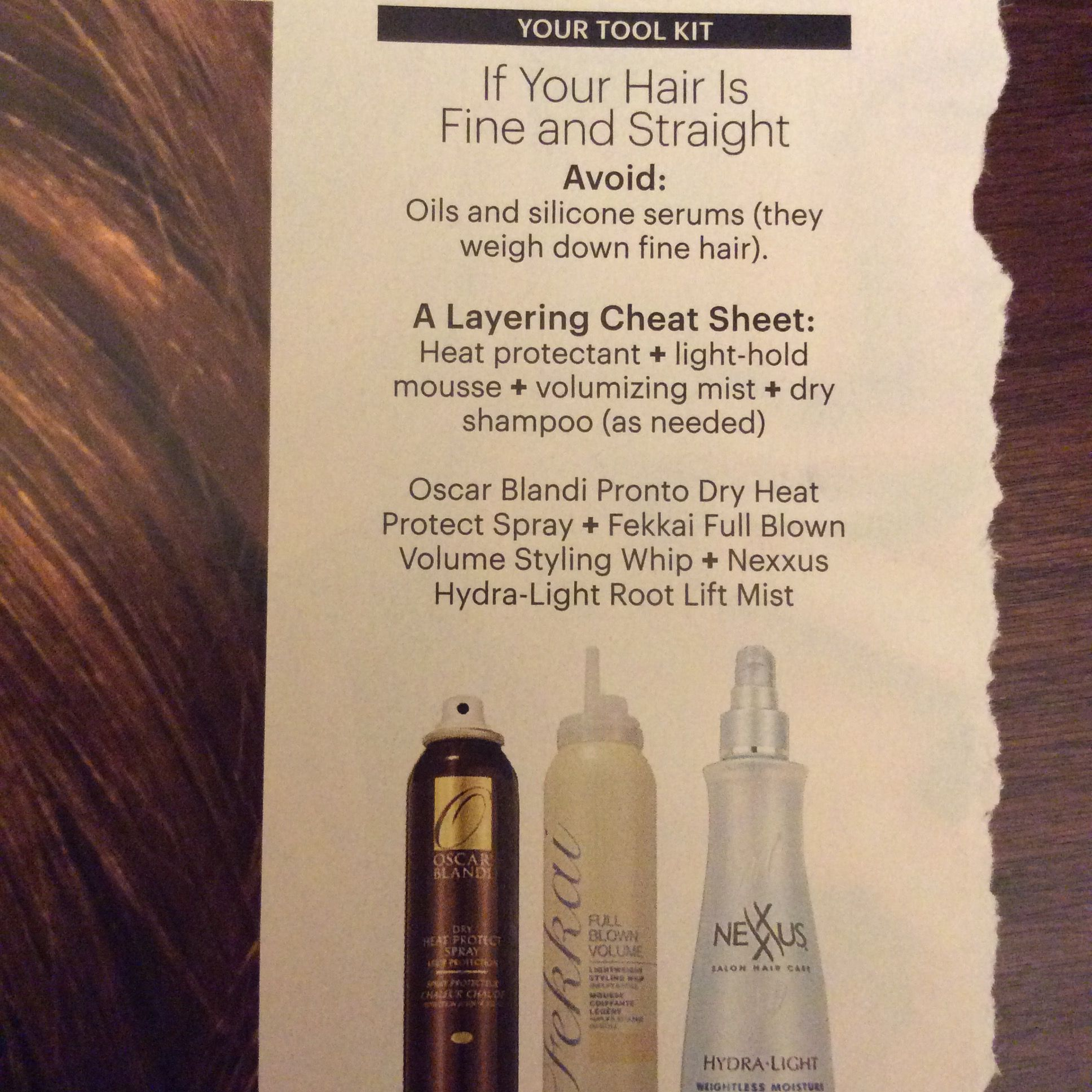 Fine hair  Avoid oil and silicone serum  Layer cheat sheet