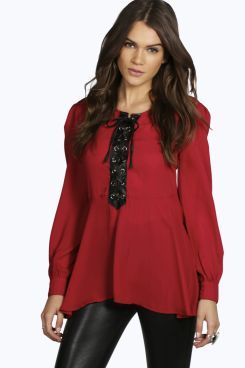 Evie Pu Lace Trim Blouse at boohoo.com