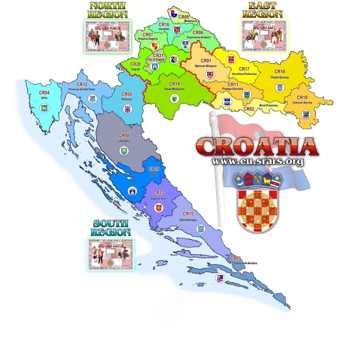Croacia ♥ Croatia regions_touristiques map