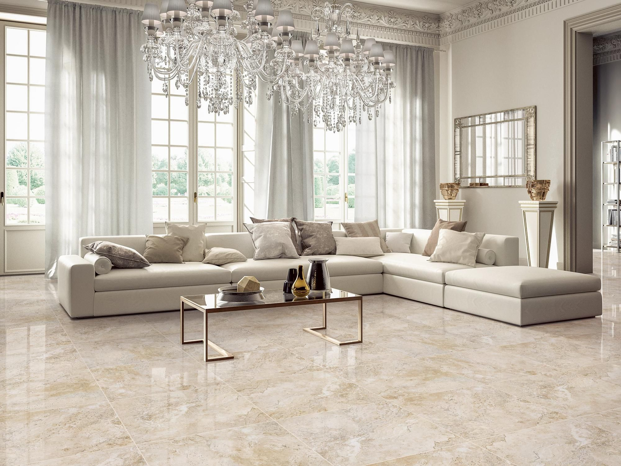 Tarsus Almond Polished Porcelain Tile 24 X 24 100093038
