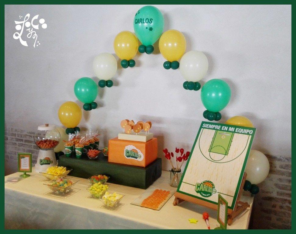 Mesa dulce decoracion globos baloncesto comunion ni o for Decoracion globos valencia