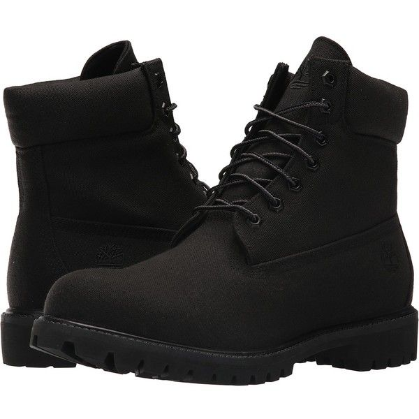 Timberland 6 Premium Fabric Boot (Jet Black) Men's Lace-up Boots ($150) ❤  liked on Polyvore featuring men's fashion, men's shoes, men's boots,  timberland ...