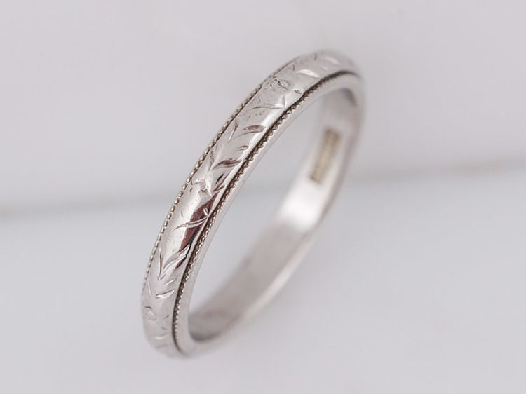 Antique Wedding Band Art Deco Geometric Engraved In 18k White Gold