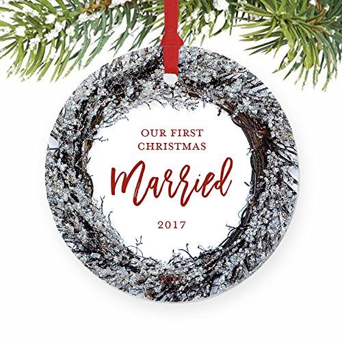 Our First Christmas Married Ornament 2017 Husband Wife Couple Just Married Newlywed Weddin First Christmas Married First Christmas Ornament Married Ornament