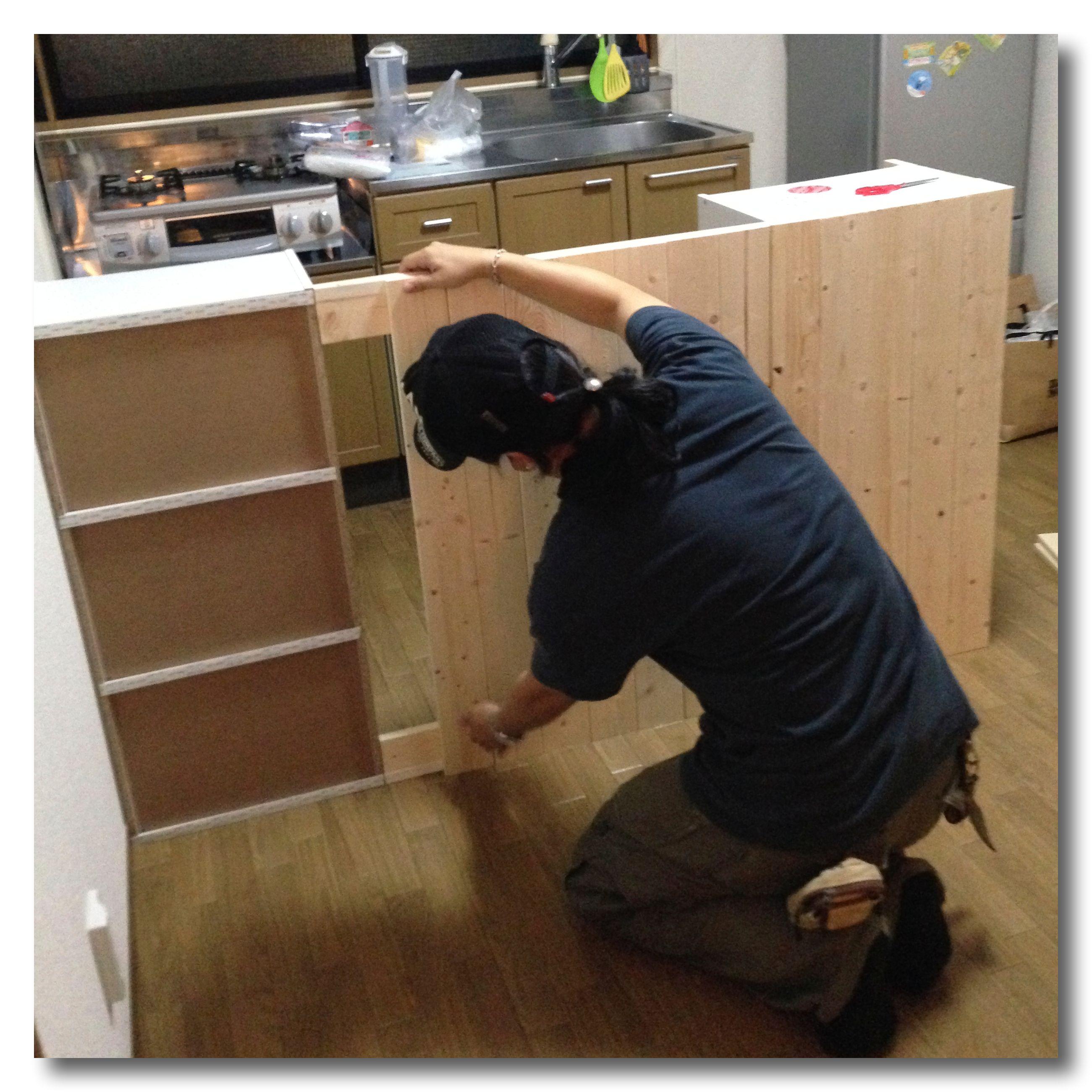 材料費2670円の自作キッチンカウンター Vol 2 組み立て編 狭い