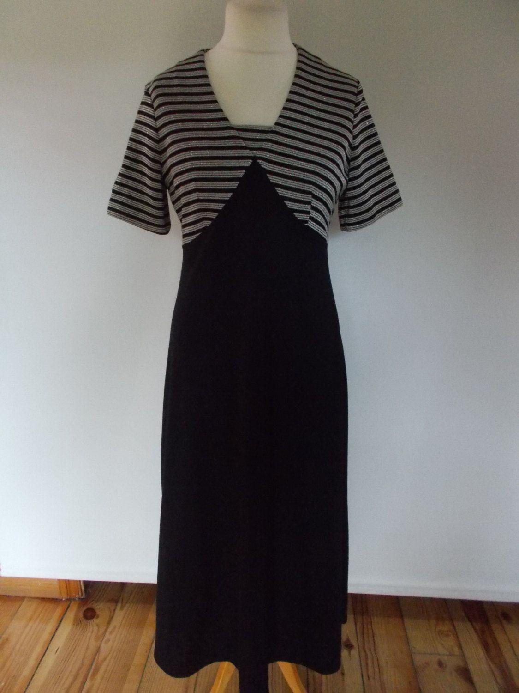 Vintage dress 60s 70s Len Vogue of Melbourne black dress with gold metallic  striped bodice size medium by BidandBertVintage on Etsy 3ae8f66d4