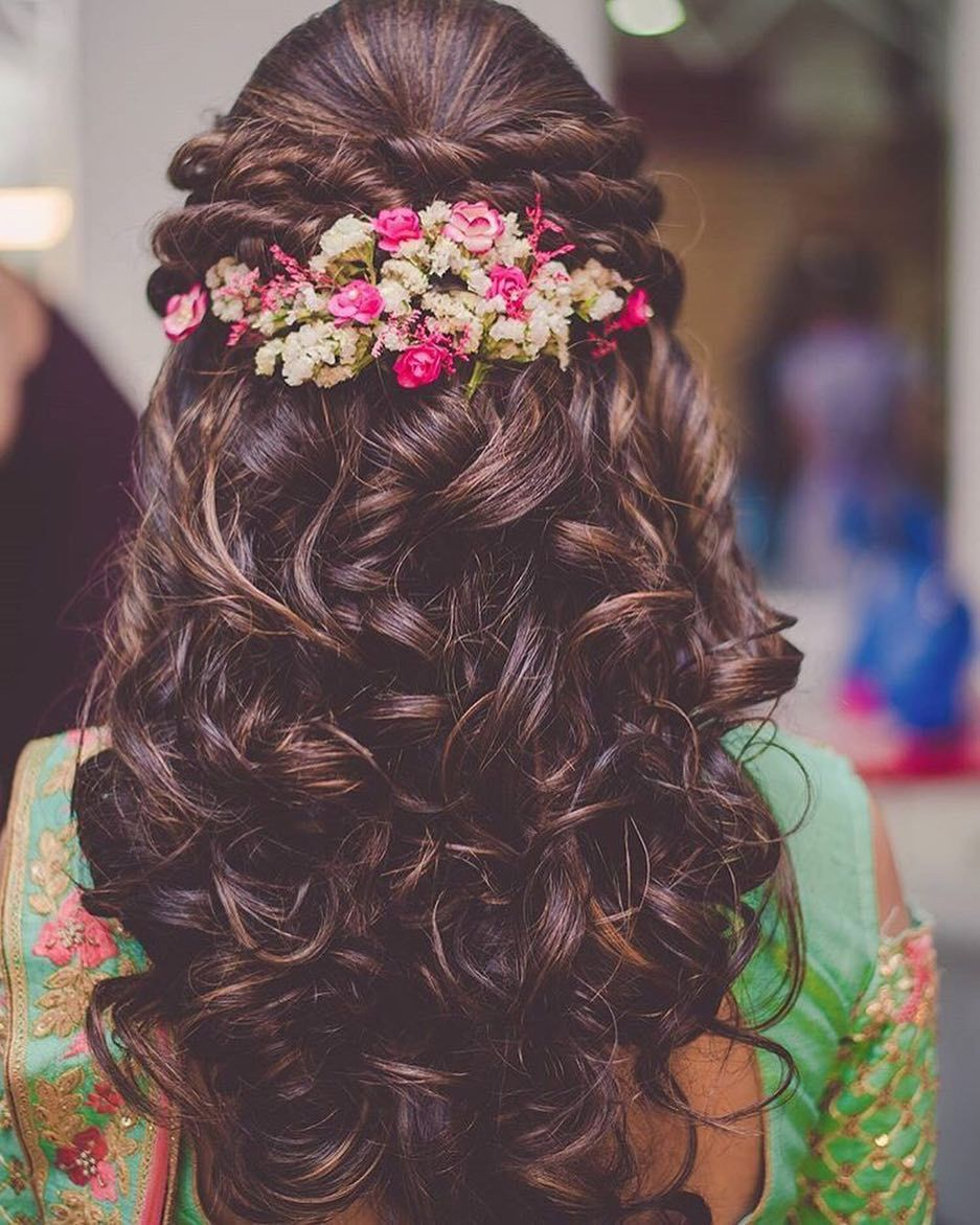 Sangeet Hairstyle Free Hairstyle Flowers Flowerstagram Hairdo Wedding Bridal Hairdo Open Hairstyles