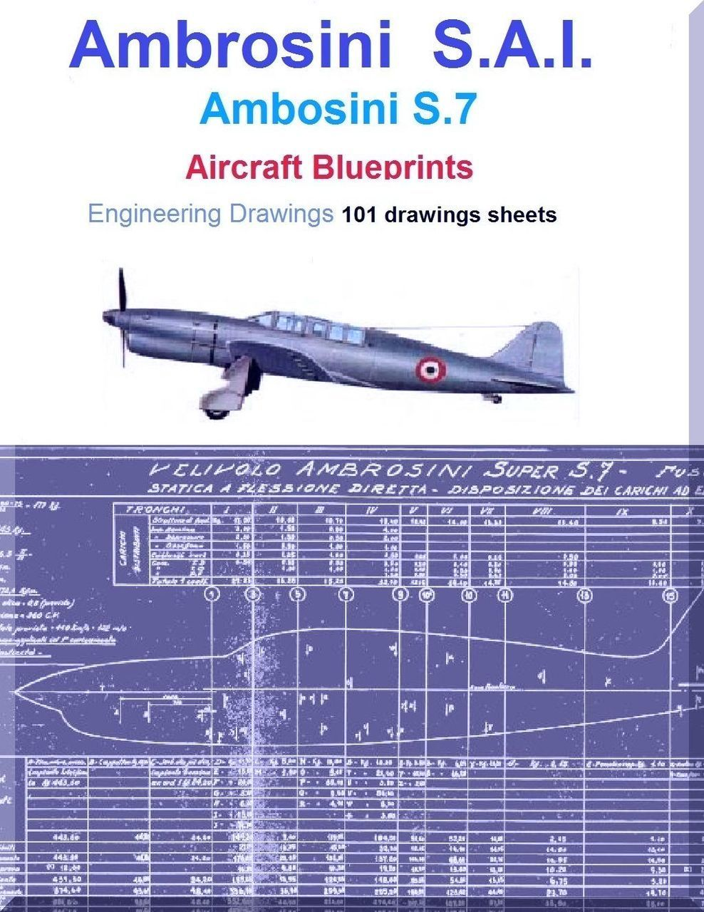 Ambrosini S 7 Aircraft Blueprints Engineering Drawings - Download in