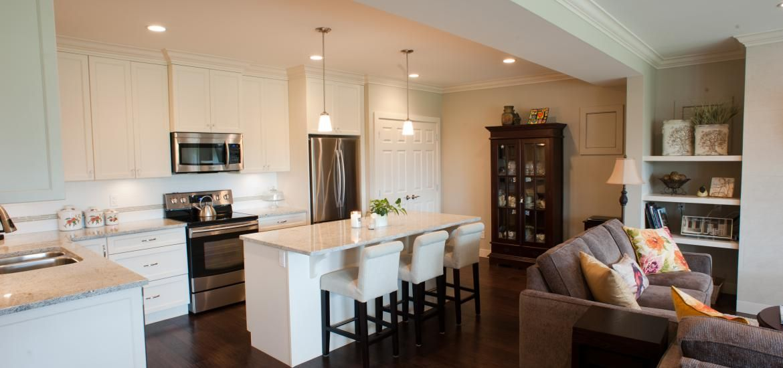 A classic elegant basement suite mountainside design for Basement apartment kitchen ideas