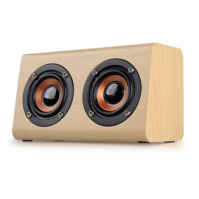 Mini Wooden Wood Subwoofer Wireless Bluetooth Speaker HIFI Stereo Bass Speaker