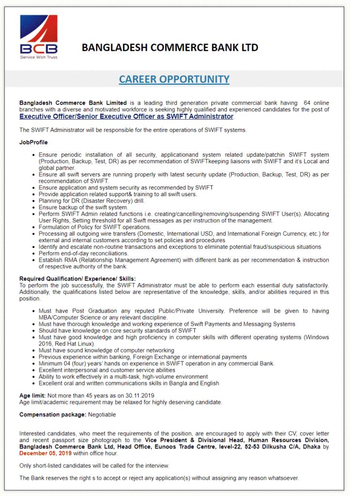 Bangladesh Commerce Bank Job Circular 2020 Bank jobs