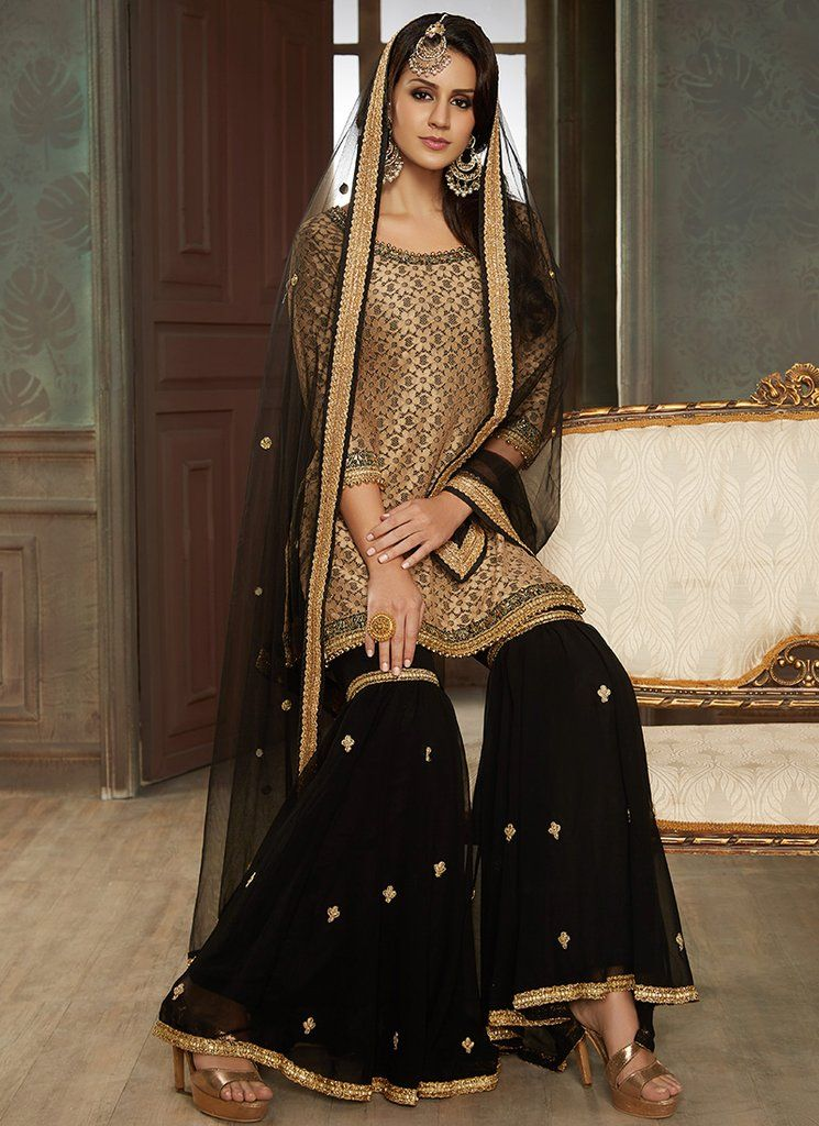 Black And Gold Embroidered Gharara Suit Fashion Asian Bridal Wear Fashion Outfits