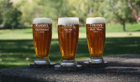 Personalized Pilsner Beer Glasses  / Etched Glasses / Engraved Glass / Custom / Groomsman / Bridesmaid / 16 Designs! / Select ANY QUANTITY