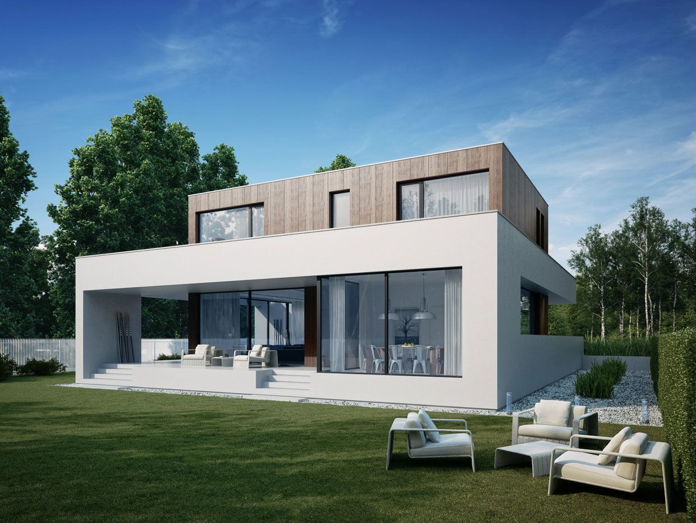 wooden cube house clean lines - Geometrische Formen Farben Modernes Haus