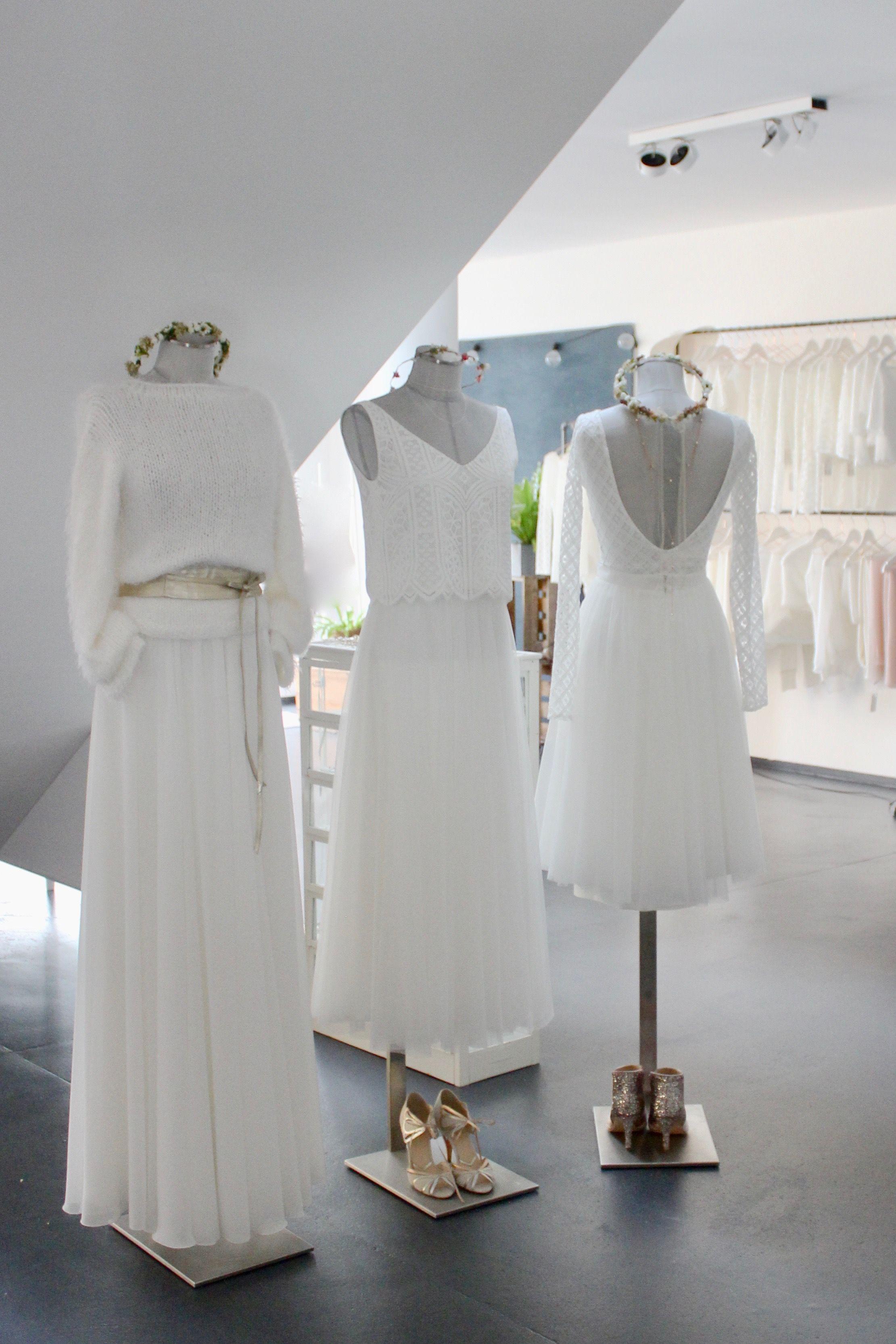 Brautkleid Zweiteiler, moderne Hochzeitskleider mit Spitzentop und