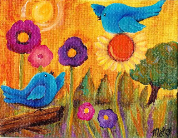 You need happy bluebirds in the sunshine original by giftsofcreation, $20.00 CLICK IT NOW!!