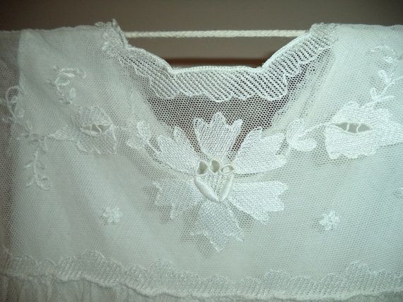 French vintage tambour white lace dress for by FrenchVintageLife, $55.00