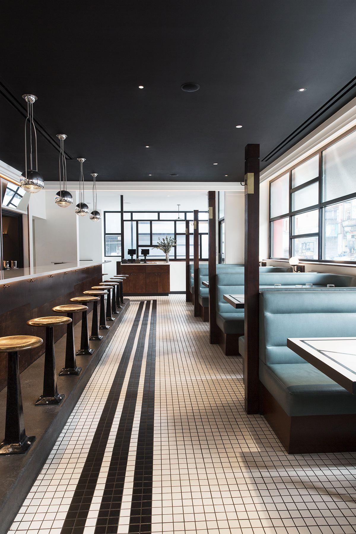Inside Nickel Diner A New Modern Diner In Nyc Domino Diner Restaurant Restaurant Interior Design Diner Decor