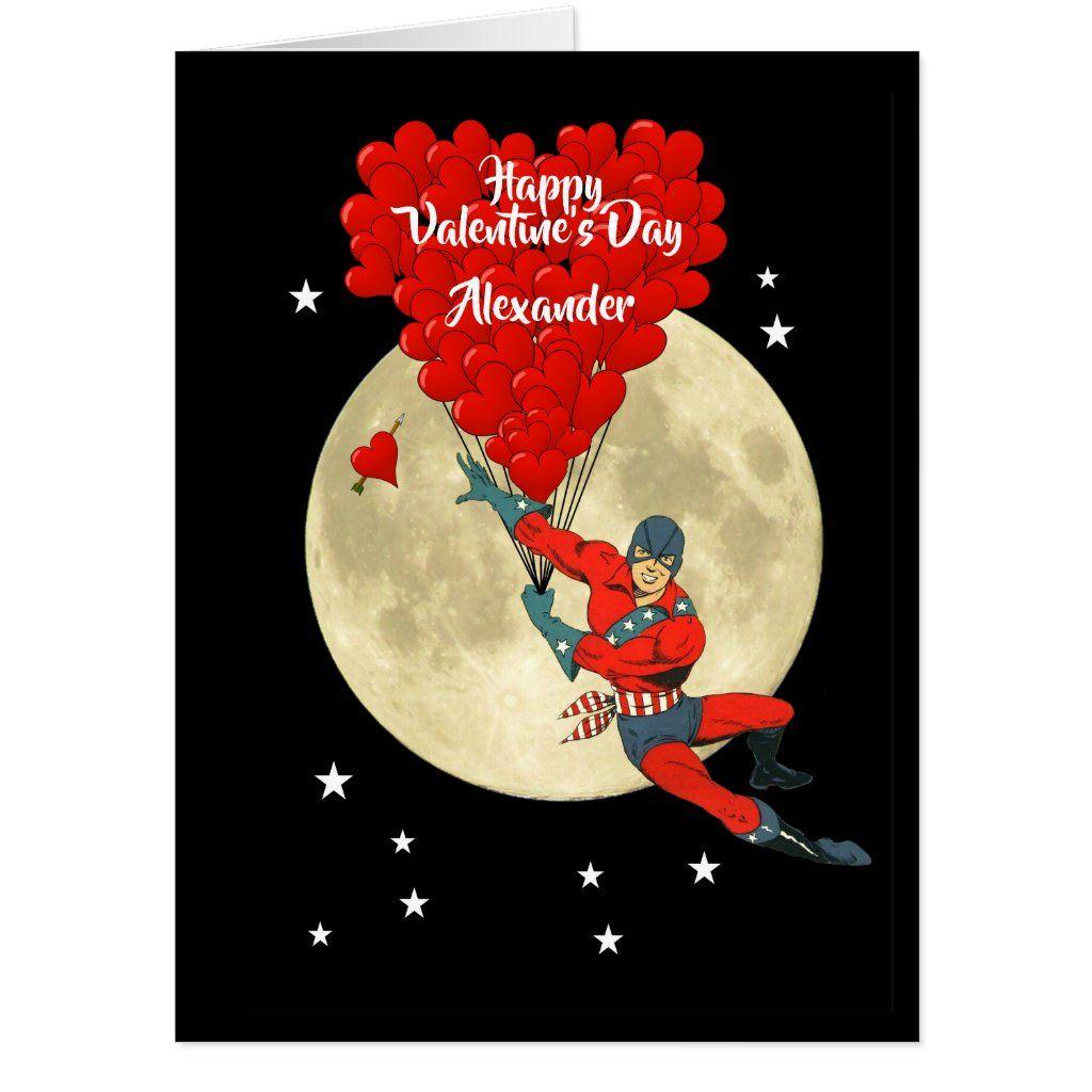 Romantic Comic Super Hero Valentines Day Card Zazzle Com In 2021 Romantic Comics Retro Comic Book Valentines