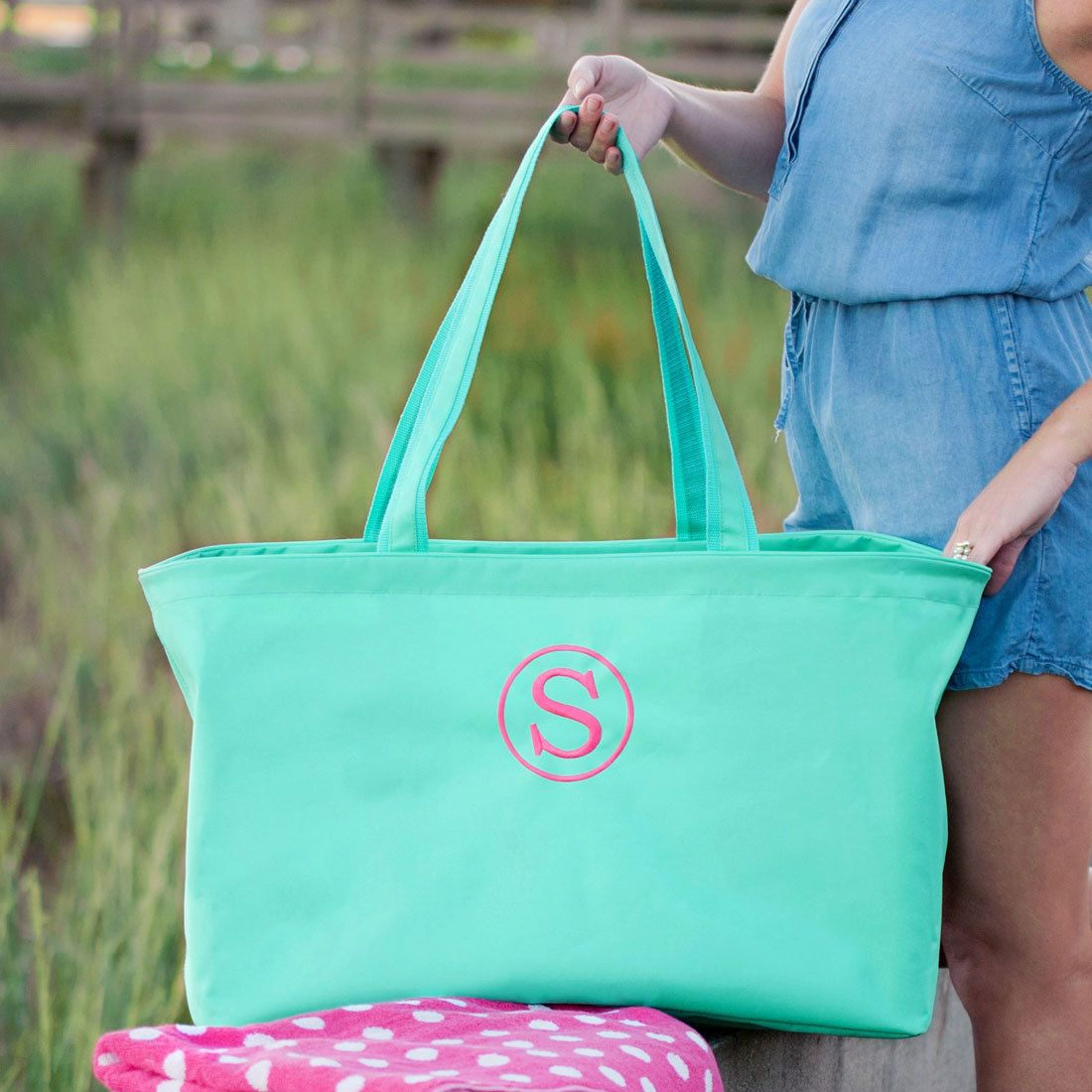 Personalized Mint Green Large Ultimate Utility Tote * Custom Beach ...