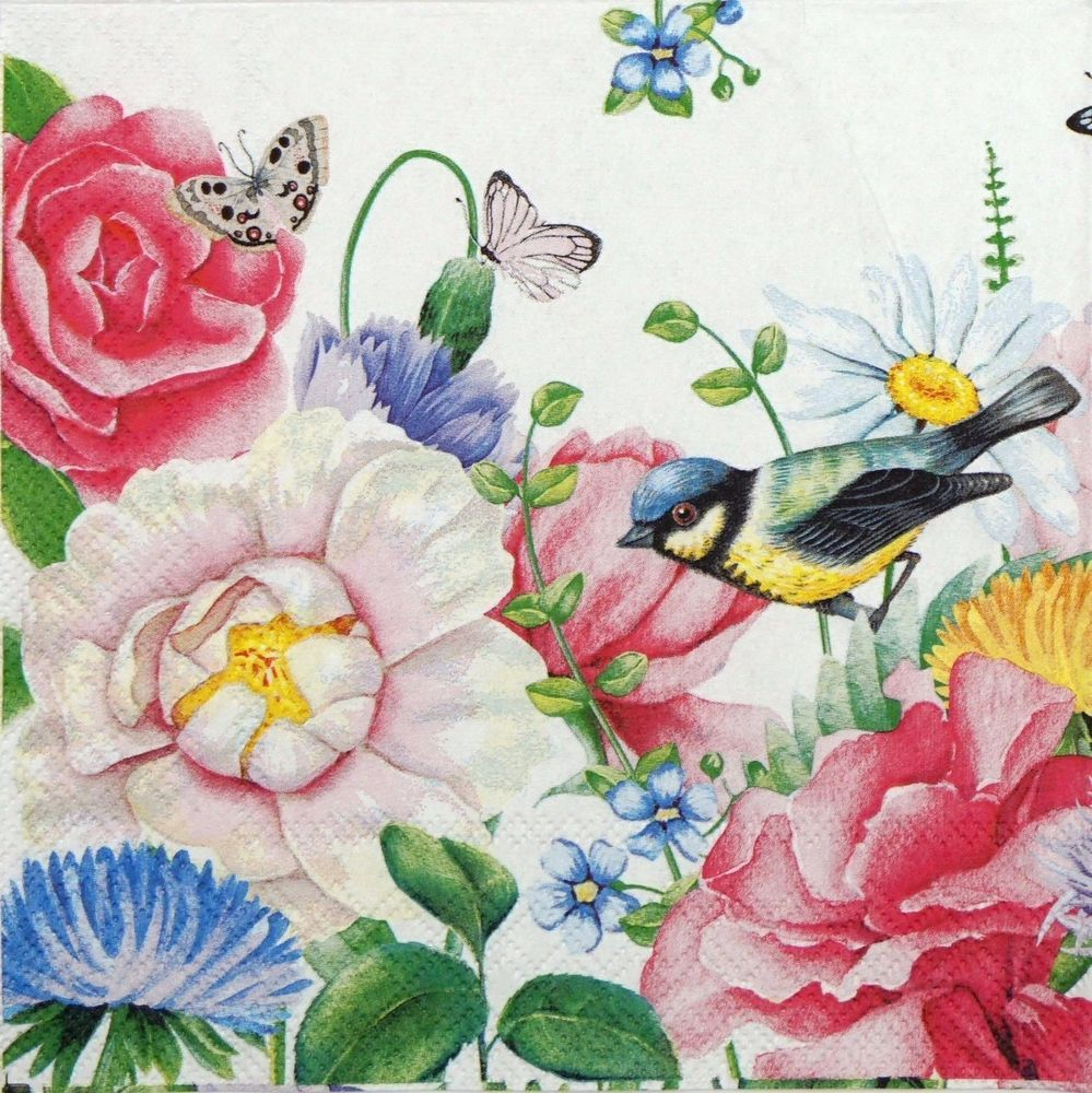 4x Paper Napkins for Decoupage Decopatch Roses and Robins