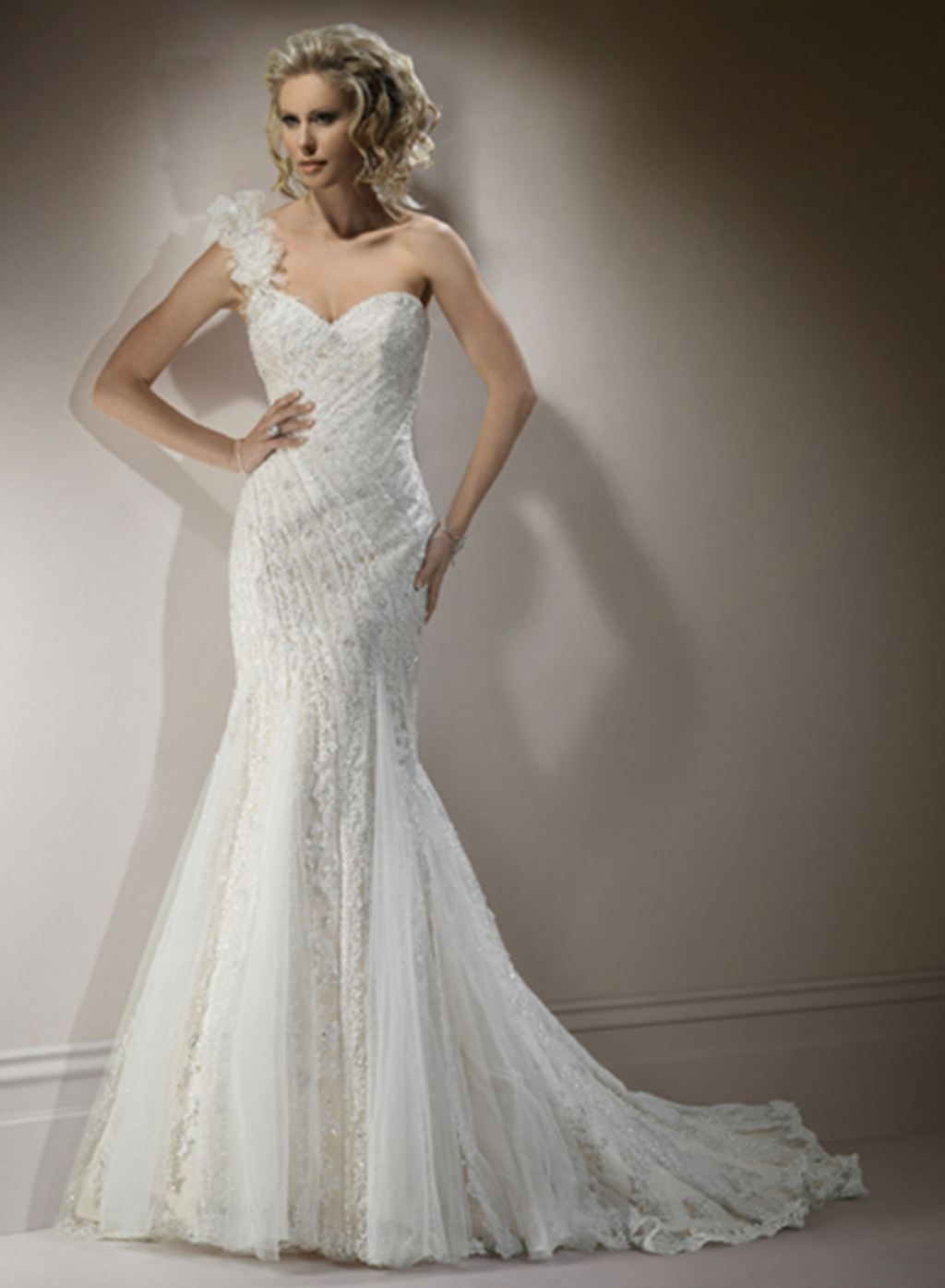 Wedding dress patterns with sleeves  Maggie Sottero Genevieve Fit and flare gown with sweetheart