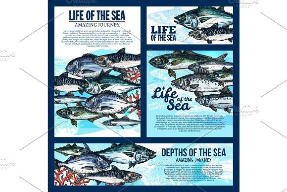sea life banner with fish and ocean animal sketch poster templates