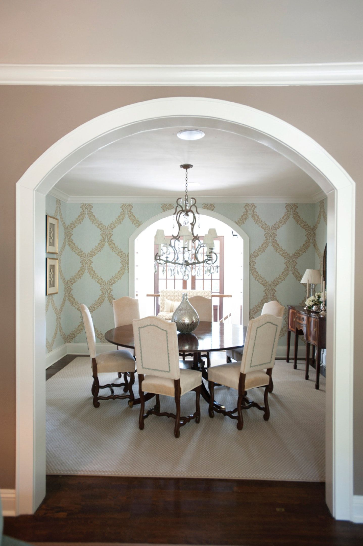 Archway Leading To Dining Room With Custom Wallpaper And Crystal Chandelier Archways In Homes Dining Room Design Dining Design