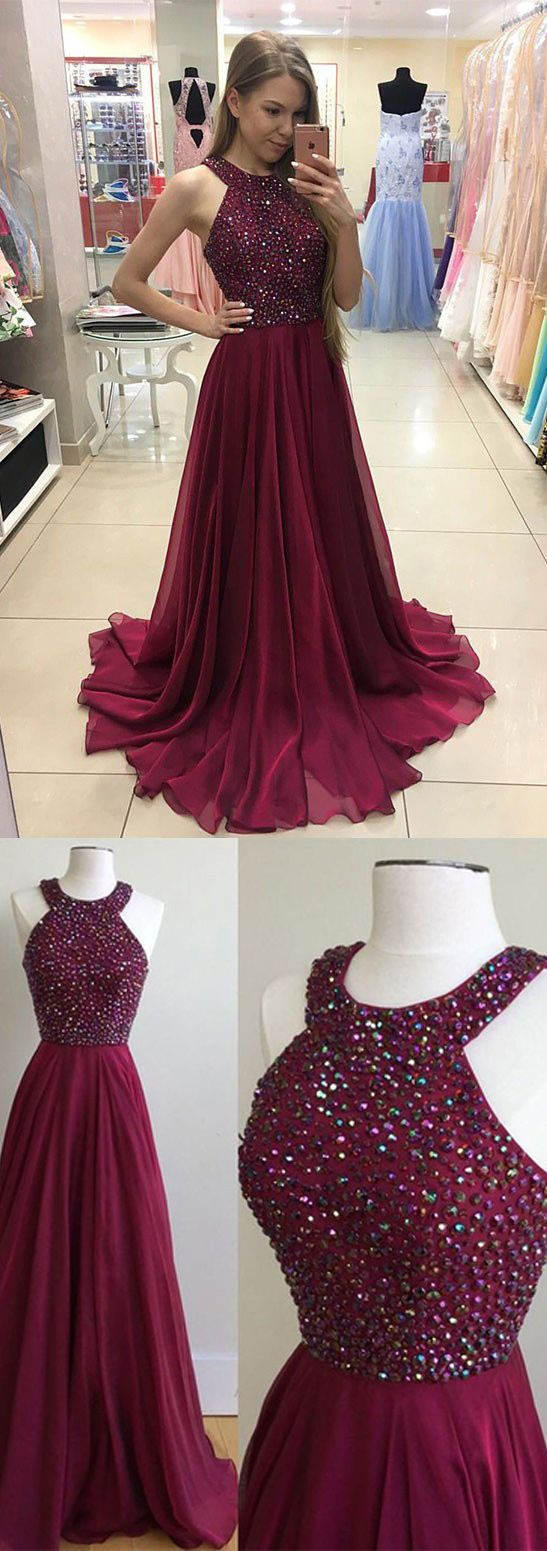 Aline maroon jewel sleeveless floorlength prom dress with beading