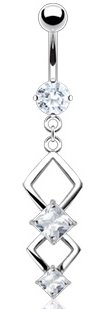 Amazon.com: 316L Surgical Steel Navel Jewelry with Double Marquise in Clear Crystal Dangle: Jewelry