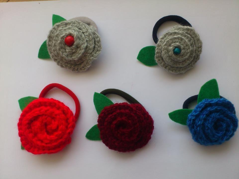 Gomas del pelo flor de lana de PaulayTolai
