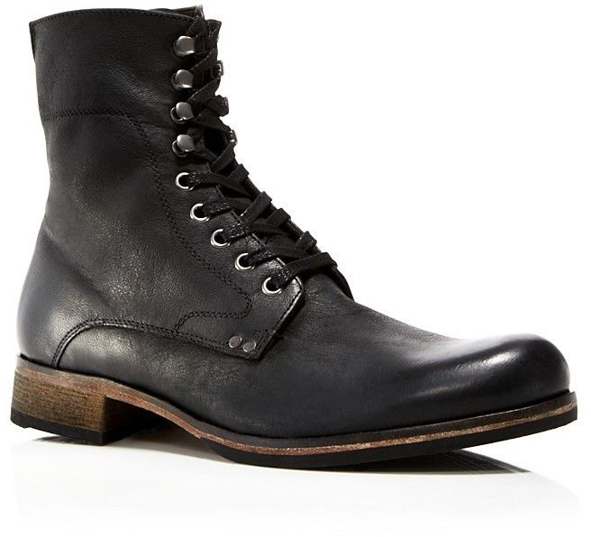 $358, Black Leather Boots: John Varvatos Star Usa Bonham Lace Up Leather  Boots.