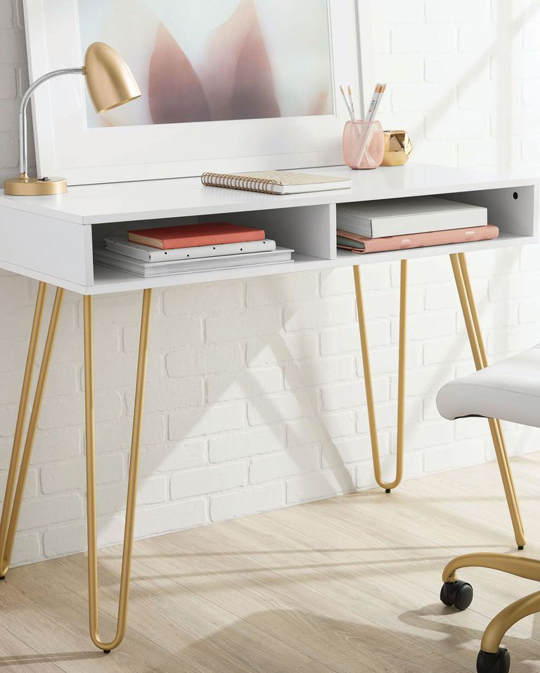 23 Stylish Desks That Will Actually Fit In Your Tiny Apartment Desks For Small Spaces Bedroom Desk Cheap Office Furniture