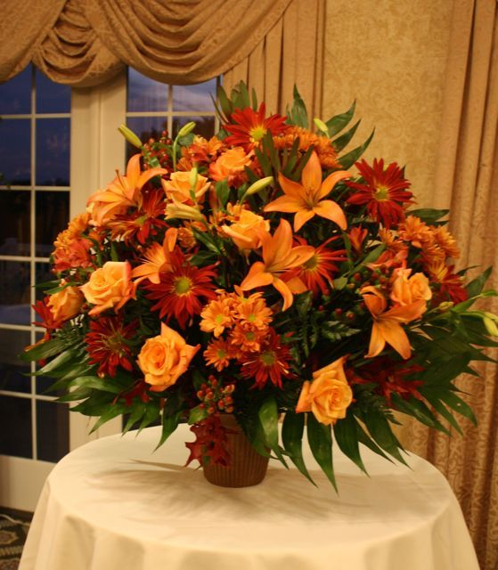 Fall Wedding Altar Arrangements: Autumn Reception Wedding Flowers, Wedding Decor, Wedding